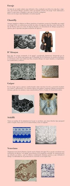 Telas 4 Encajes (Chantilly_ D'Alençon_Guipur_Schiffli_Veneciano) Fabric Names, Fabric Yarn, How To Dye Fabric, Fashion Design Classes, Fashion Design Portfolio, Sewing Hacks, Sewing Crafts, Sewing Projects, Sewing Tips