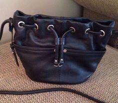 Tignanello Black Pebbled Leather Crossbody Handbag Purse Excellenr Condirion!!!