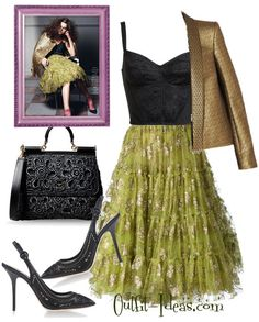Evening Outfit with Lanvin and Dolce Gabbana,  Lanvin embellished tulle skirt,  Lanvin Metallic jacquard jacket,  Dolce & Gabbana Large Fabric Bag,  Dolce & Gabbana Slingbacks,  DOLCE & GABBANA Lace Bustier Top #VintageOutfitIdeas