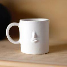 Rami Kim Face Mug in White Matte. *This is Made to Order. X 4 X 3 h opening) Copyright © Rami Kim Face Planters, Face Mug, Persian Blue, Blue Bowl, Metal Vase, Mocha Brown, Incense Holder, Bottle Vase, Hanging Planters