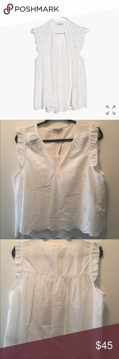 Madewell Eyelet Garden Sleeveless Top - XL A floaty, feminine tank with vintage-inspired embroidered eyelet lace. Ruffled shoulders, a scalloped hem—this top has all the good stuff.   **Definitely shorter in the front and more of a crop** True to size. Cotton. Machine wash. Madewell Tops Blouses
