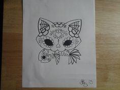 Sugar Skull Cat Tattoo | Sugar Skull Kitty and Fish by lizzyj2217 on DeviantArt