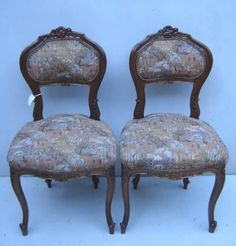 Antique pair of Louis XV mahogany chairs # as/968