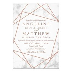 Shop Marble and Faux Rose Gold Geometric Wedding Invite created by Elegant_Invitation. Personalize it with photos & text or purchase as is! Gold Invitations, Floral Invitation, Elegant Wedding Invitations, Wedding Stationery, Invitation Cards, Rose Gold Wedding Invitation, Invitation Suite, Shower Invitations, Birthday Invitations