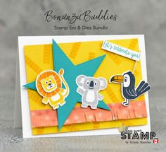 Create a cute birthday card, including some adorable animals, with the Bonanza Buddies Bundle of stamps and dies. The lion, koala, and toucan images a Cute Birthday Cards, Birthday Greeting Cards, Birthday Fun, Birthday Greetings, Birthday Celebration, Toucan Images, Stampin Up Canada, Animal Cards, Stamping Up