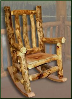 Rustic Log Rocking Chair...two of these together would look great on my front porch