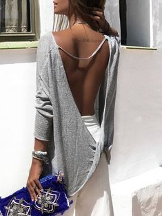 a33d3d09aa 2018 New Sexy Cross Long Sleeve T-shirts Women s Hot Sale Gray Color  Backless T