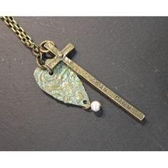 "Long thin aged bronze necklace with ""pray daily"" cross and heart Cha Cha"
