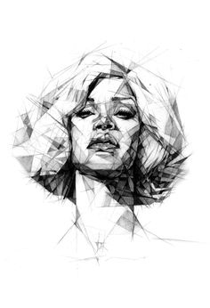 Drawing Portraits - Rihanna by Dave Merrell, geometric portrait drrawing - Discover The Secrets Of Drawing Realistic Pencil Portraits.Let Me Show You How You Too Can Draw Realistic Pencil Portraits With My Truly Step-by-Step Guide. Life Drawing, Drawing Sketches, Painting & Drawing, Art Drawings, Drawing Portraits, Pencil Drawings, Sketching, Pastel Drawing, Face Sketch