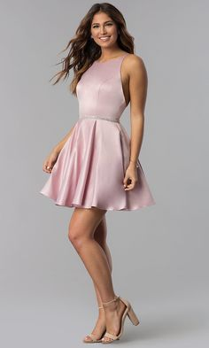Short High-Neck Open-Back Homecoming Dress - PromGirl True Style Never Dies Pink Formal Dresses, Banquet Dresses, Dama Dresses, Hoco Dresses, Dresses For Teens, Elegant Dresses, Cute Dresses, Sexy Dresses, Fashion Dresses