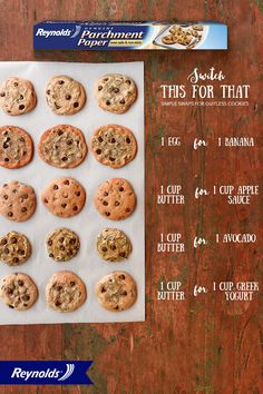 these ingredient swaps to bake chocolate chip cookies with lots of flavor and little guilt! Use Reynolds Parchment Paper, available in rolls or pre-cut sheets, for fast and easy cleanup. Your guiltless cookies will slide right off the pan, too! Köstliche Desserts, Healthy Desserts, Delicious Desserts, Dessert Recipes, Yummy Food, Healthy Cookie Recipes, Baking Tips, Baking Recipes, Healthy Baking Substitutes