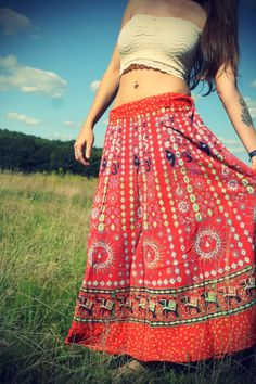 Long Bohemian Wrap Skirt