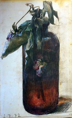 Horst Jannsen - admiring him Horst Janssen, Broken Rose, Illustrator, Plant Painting, Paul Klee, Gravure, Gouache, Flower Art, Printmaking