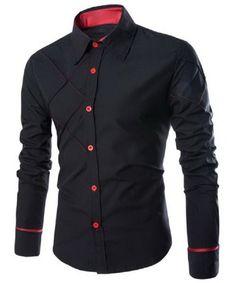 Men's Fashion Long Sleeve Shirt, Slimming Shirt in Black