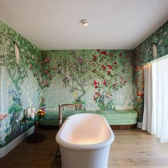 A bathroom straight from the pages of Alice in Wonderland.