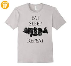 Eat, Sleep, Fish Repeat Shirt, Fishing Father's Day Dad Herren, Größe M Silber (*Partner-Link)
