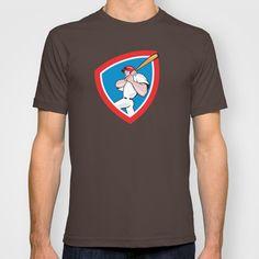 Baseball Player Batting Crest Red Cartoon T-shirt