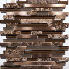 Mixed rectangular mosaic tile accent. Would like some metals  too. Glass Stone and Metal Tile - GSM1090D-RS