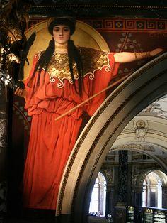 Pallas Athene by Gustav Klimt | Zwickelbild im Stiegenhaus des Kunsthistorischen Museums