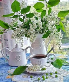 Coffee Cups, Tea Cups, Good Morning Greetings, Watering Can, Best Coffee, White Flowers, Photo Wall, Canning, Plants