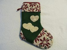 Christmas Stocking with 3 appliqued hearts by KaTerryTheSewSisters