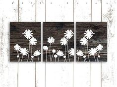 Flower Art Print on Wood Background, Wood Art Print, Set of Three 8x10 Inch Prints, Rustic Home Decor on Etsy, $42.00