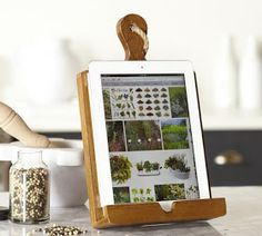 Shop cuisine tablet recipe holder from Pottery Barn. Our furniture, home decor and accessories collections feature cuisine tablet recipe holder in quality materials and classic styles. Pottery Barn, Ipad Kitchen Stand, Recipe Book Holders, Cookbook Holder, Tablet Recipe, Ipad Holder, Iphone Holder, Diy Gifts For Mom, Diy Cutting Board