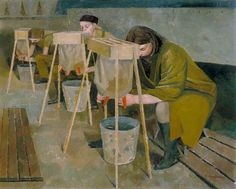 Milking Practice with Artificial Udders by Evelyn Mary Dunbar IWM (Imperial War Museums) Date painted: 1940 Oil on canvas, x cm Collection: IWM (Imperial War Museums Women's Land Army, Antiques Roadshow, Art For Art Sake, Your Paintings, New Art, Painting & Drawing, Wwii, Oil On Canvas, Modern Art
