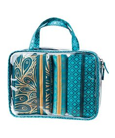 This Peacock Paradise Bag-in-Bag Cosmetic Set is perfect! #zulilyfinds