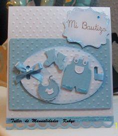 Invitaciones Para Baby Shower, Bautizo, 3 Años... Baby Boy Cards, New Baby Cards, Baby Shower Cards, Baby Boy Scrapbook, Scrapbook Cards, Handmade Gift Tags, Handmade Baby, Baby Crafts, Kids Cards