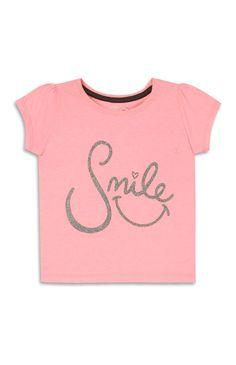Primark - Pink Glittery Smile T-Shirt