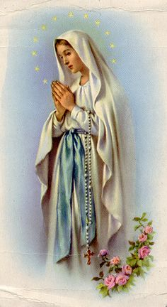 Our Lady of the Rosary Holy Card. She has Madonna lilies.