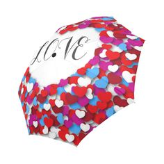 Red Pink Blue Heart Love Pattern Auto-Foldable Umbrella