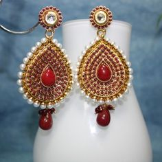 Ethnic Temple shape earrings carved in stone & white pearl