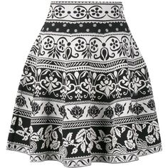 Alexander McQueen jacquard knit mini skirt ($934) ❤ liked on Polyvore featuring skirts, mini skirts, black, floral mini skirt, elastic waist skirt, flare short skirt, short skirts and jacquard skirts