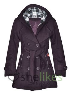 New Womens Hooded Belted Fleece Button Coat Ladies Check Hood Jacket Size 8-14 | eBay