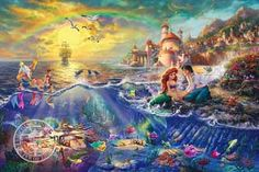 "Thomas Kinkade-""The Little Mermaid ""- Open edition 14"" by 14"" Canvas Giclee Prints"
