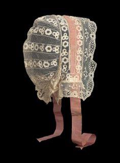 Mid-19th century, Ireland - Cap - Linen net with linen applique, linen bobbin lace trim, and silk ribbon