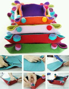 Felt napkin making - keçe - Felt Diy, Felt Crafts, Fabric Crafts, Sewing Crafts, Wet Felting, Needle Felting, Felt Decorations, Sewing Projects For Kids, Felt Fabric