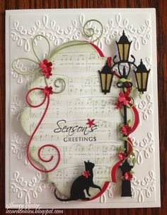 Seasons Greetings with Cat - Made with Poppy Stamps Dies - Village Lamp Post and Cat