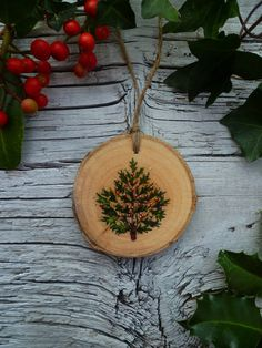 Original Illustration—Handpainted Wooden Ornament by AliceCEades