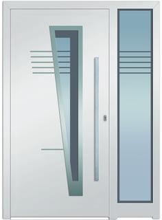 Eingangstüre Modell Turais 2 Mit Einem Fixen Seitenteil   Hochwertige  Aluminiumeingangstüre In Weiß Mit Edelstahlapplikation Außen