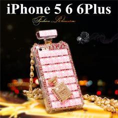 Modern Parfüm Flasche Design Kristall Handyhülle mit Kette für iphone 5/5S und iphone 6/6 Plus - elespiel.com