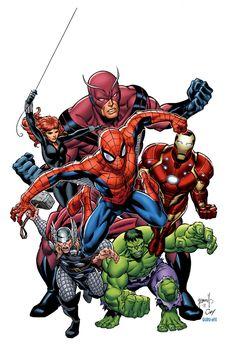 MarvelSuperheroes// artwork by Tom Grummett and Joe Weltjens (2012) Only Cap is missing for a modern avengers line-up!