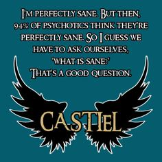 SUPERNATURAL I'm perfectly sane. But then, 94% of psychotics think they're perfectly sane. So I guess we have to ask ourselves, 'what is sane?' That's a good question. - Castiel