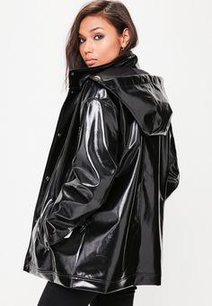 Missguided - Black High Shine Hooded Rain Mac