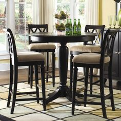 American Drew Camden - Dark Bar Height Gathering Table with Splat Back Stools - Johnny Janosik - Pub Table and Stool Set Delaware, Maryland, Virginia, Delmarva Round Counter Height Table, Bar Height Dining Table, Round Bar Table, Dining Room Table, Kitchen Tables, Round Dining, Round Kitchen, Kitchen Nook, Dining Area