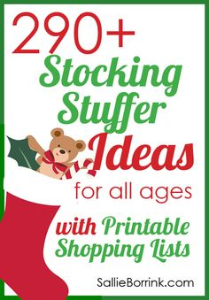 Looking for Christmas stocking stuffers? Check out my printable list of ideas! There is something for everyone - baby, toddler, preschooler, elementary, middle school, high school, adult women, and adult men. Easy to print off and take with you when you go shopping or just shop online!