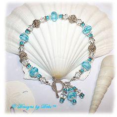 Designs by Debi Handmade Jewelry Aqua Dreams Aqua Swirled Handmade Lampwork, Bali Silver and Swarovski Crystal Bracelet with Sterling Silver Twisted Rope Toggle Clasp ~ OOAK $60