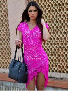 Sexy V-Neck Lace Embroidered Short Sleeve Bodycon Dress For Women - ROSE XL Mobile